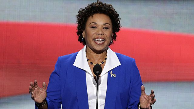 Rep. Barbara Lee of California addresses the Democratic National Convention in Charlotte, N.C., on Tuesday, Sept. 4, 2012. (AP Photo/J. Scott Applewhite)