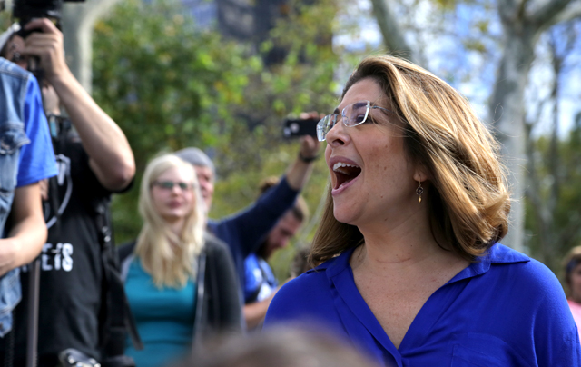 Naomi Klein addresses the Flood Wall Street protest. (Photo: John Light)