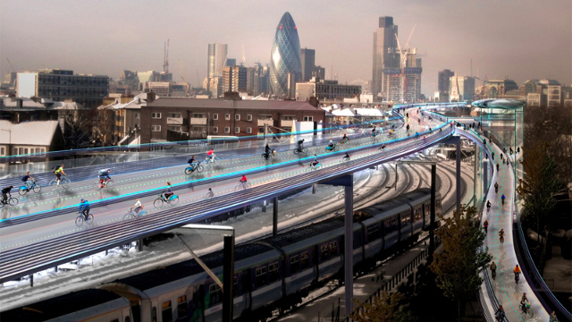 """A proposed 220-kilometer bike """"superhighway"""" that could be built on London's existing railway lines. (Image: Foster + Partners architects)"""