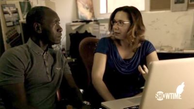 Katharine Hayhoe appearing in Years of Living Dangerously with Don Cheadle. Screengrab from film.