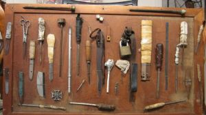 A collection of homemade weapons seized from prisoners. (Image: Darrell Dean Antiques)