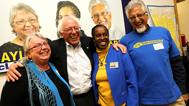 Richmond, California Mayor Gayle McLaughlin, and city council candidate Jovanka Beckles, Eduardo Martinez together with Sen. Bernie Sanders.