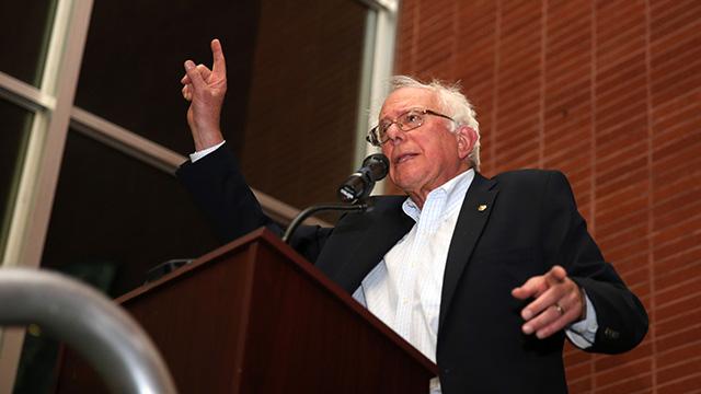 Sen. Bernie Sanders speaking in Richmond, California.