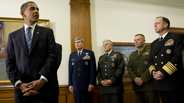 President Obama during his first visit to the Pentagon. (Photo: DoD/Mass Communication Specialist 1st Class Chad J. McNeeley/flickr CC 2.0)