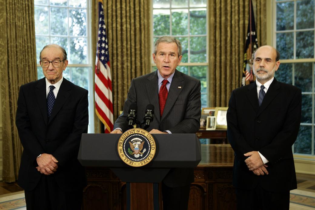 Alan Greenspan, President George W. Bush and Ben Bernanke.  (AP Photo/J. Scott Applewhite)