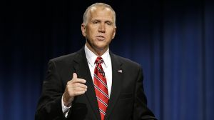 North Carolina Republican Senate candidate Thom Tillis makes a comment during a live televised debate with Sen. Kay Hagan, D-NC, at UNC-TV studios in Research Triangle Park, North Carolina, Tuesday, Oct. 7, 2014. (AP Photo/Gerry Broome, Pool)