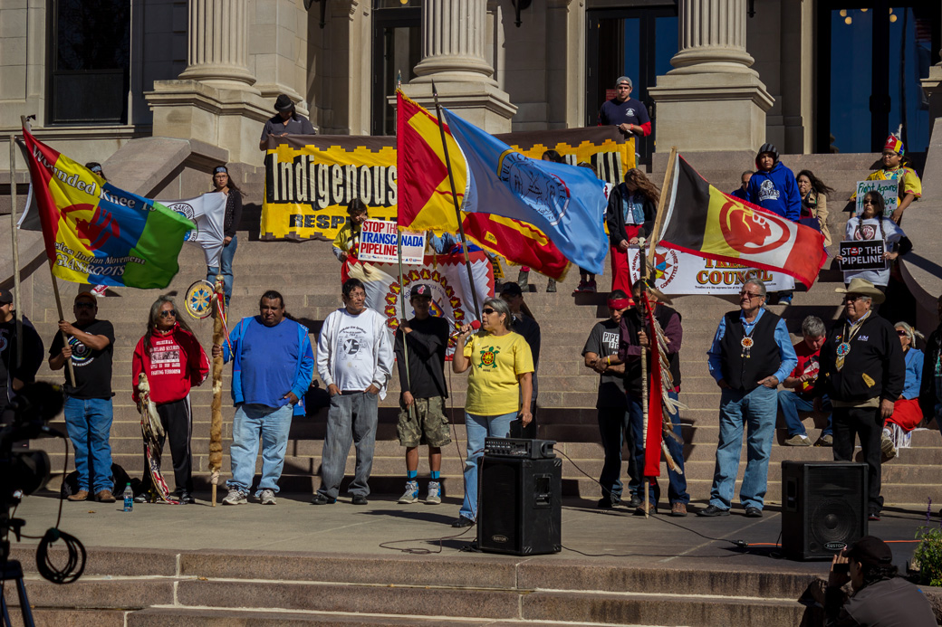 Indigenous people rallied to get out the vote in South Dakota's state capital, Pierre, on October 13, Native American Day (Columbus Day in other states). With speeches and ceremony, they kicked off reservation GOTV operations statewide. (Credit: Jesse Short Bull)