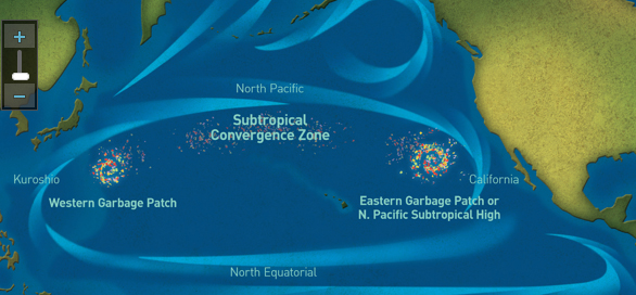 The Great Pacific Garbage Patch is a collection of marine debris in the North Pacific Ocean. It is actually two distinct collections of debris bounded by the massive North Pacific Subtropical Gyre. (Image: National Geographic)