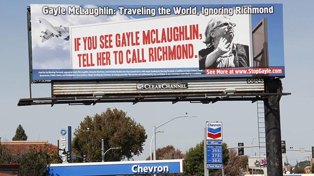 One of Chevron's Move Forward billboards in Richmond, California. (Credit: Harriet Rowan, Richmond Confidential)