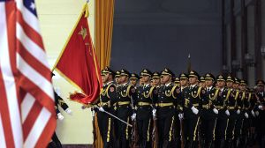Chinese guard of honor march into a hall during a welcome ceremony for visiting US President Barack Obama at the Great Hall of the People in Beijing, China on Nov. 12, 2014. (AP Photo/Andy Wong)
