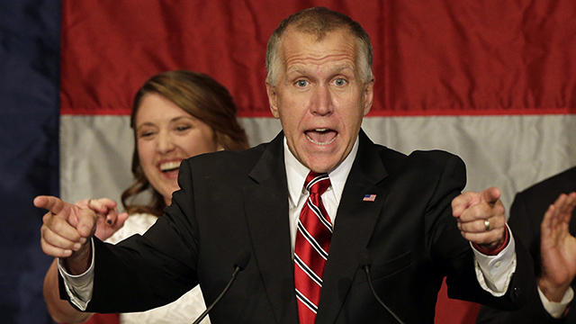 Republican Senate candidate and North Carolina House Speaker Thom Tillis speaks to supporters at an election night rally in Charlotte, NC, Wednesday, Nov. 5, 2014, after defeating Democratic Sen. Kay Hagan. (Photo by Chuck Burton/AP)