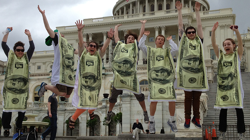 Represent.Us's dollar bill costumes worn during the K Street 5K. (credit: Represent.Us)