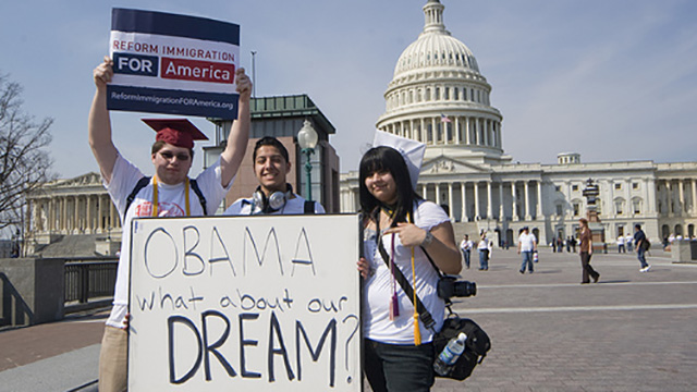 On March 21, 2010 more than 200,000 people protested on the National Mall to call for comprehensive immigration reform in Washington, DC.  (Photo: David Sachs /SEIU/ flickr CC 2.0)