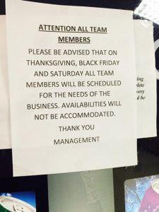Kmart remain opens on Thanksgiving Day and won't allow workers to ask for time off to be with family.