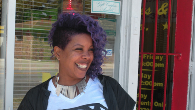 Jolanda Smith, a hair salon owner in Fayetteville, North Carolina, is helping Democratic Sen. Kay Hagan get out the vote. (Photo by Erika Eichelberger)