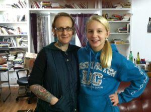 Long-time Steel Street resident Angela Tawater Amundsen with her 13-year-old daughter Emma. (Anis Shivani/Nov. 2014)