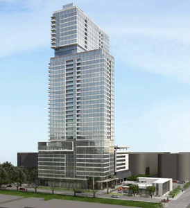 The 370-unit 30-story high-rise Hanover Co. wishes to put in its place. (Swamplot.com/Aug. 2014)