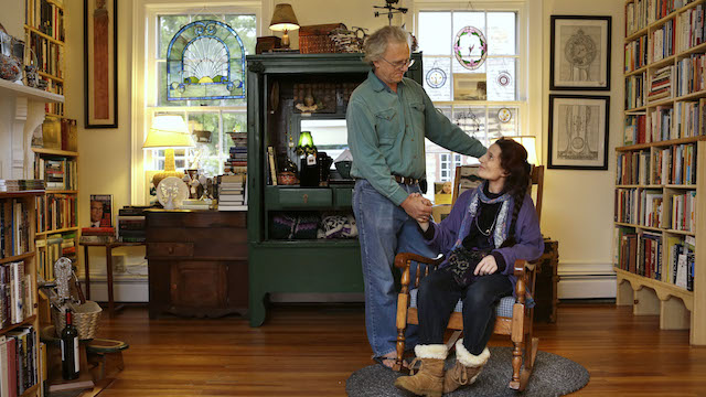 Allen Robinson, left, and his wife Nancy King Robinson pose for a portrait in their store, Books and Other Found Things, in Leesburg, Va., on Monday, Oct. 8, 2012. King Robinson has multiple sclerosis and receives Social Security disability. (AP Photo/Jacquelyn Martin)