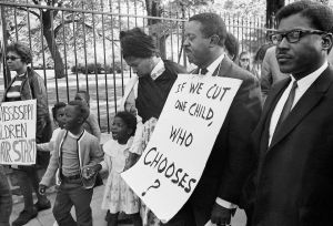 The Rev. Ralph Abernathy joined a group of Mississippi protesters on April 25, 1968 in front of the White House. The picketers were protesting any slash in funds needed for the Head Start Program. (AP Photo/ Bob Schutz)