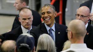 President Barack Obama greets audience members after speaking at Cedar Falls Utilities, Wednesday, Jan. 14, 2015, in Cedar Falls, Iowa.  (AP Photo/Charlie Neibergall)