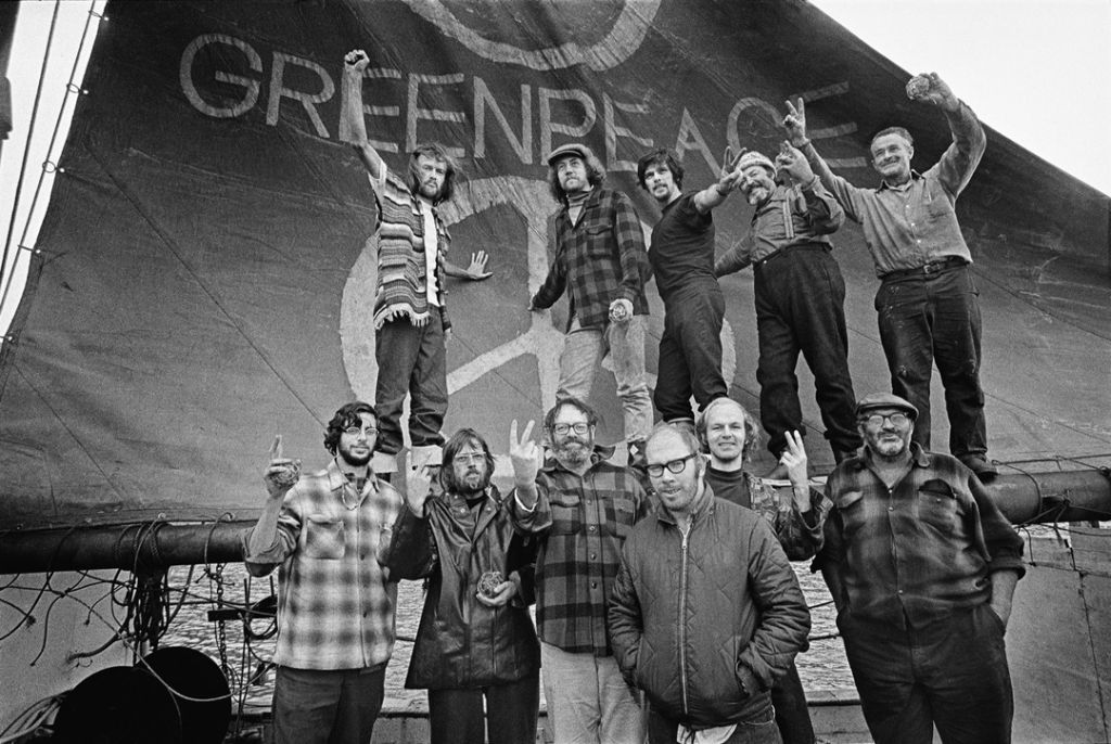 Crew from the first Greenpeace voyage to Amchitka in 1971 (photo Robert Keziere)