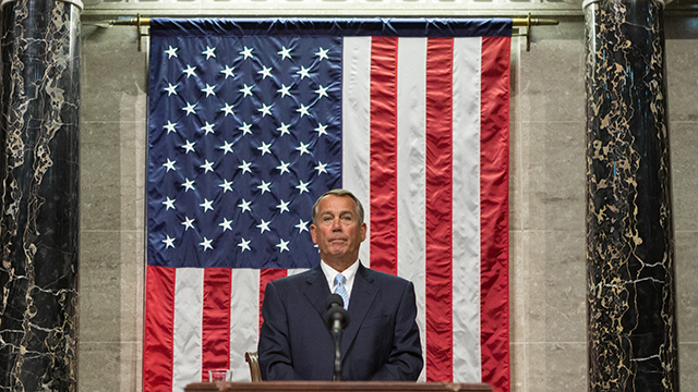 Speaker Boehner presides over the 114th Congress of the United States.  January 6, 2015. (Official Photo by Caleb Smith) -- This official Speaker of the House photograph is being made available only for publication by news organizations and/or for personal use printing by the subject(s) of the photograph. The photograph may not be manipulated in any way and may not be used in commercial or political materials, advertisements, emails, products, promotions that in any way suggests approval or endorsement of the Speaker of the House or any Member of Congress.