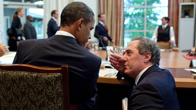 President Barack Obama talks with Michael Froman, NSA deputy for international and economic affairs, during a working dinner at the G8 Summit in Muskoka, Canada, June 25, 2010. (Photo: Official White House by Pete Souza)
