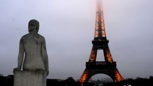 Eiffel Tower in a thick smog in Paris, France, on January 6, 2015. Photo by Alain Apaydin/Sipa USA (Sipa via AP Images)