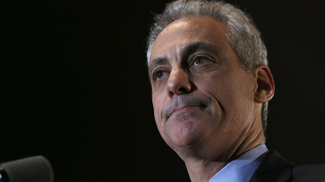 """Chicago Mayor Rahm Emanuel pauses as he talks to supporters after he was unable to get a majority in the Chicago mayoral election, forcing a runoff election in April against Jesus """"Chuy"""" Garcia. Tuesday, Feb. 24, 2015, in Chicago. (AP Photo/Charles Rex Arbogast)"""
