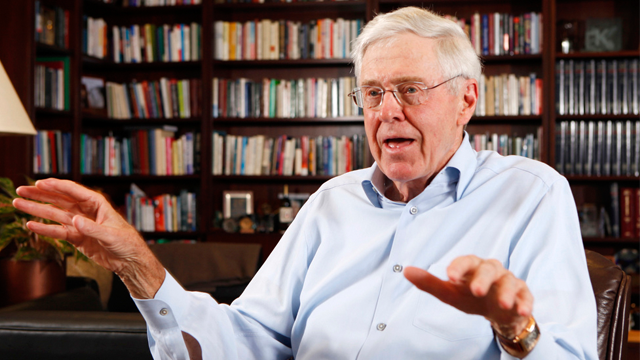 Charles Koch in his office at Koch Industries in Wichita, Kansas., in May 22, 2012.  (AP Photo/The Wichita Eagle, Bo Rader)