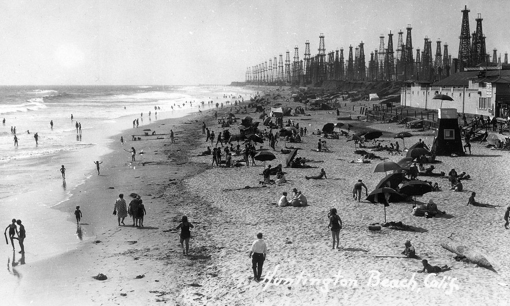 Huntington Beach in the 1930s or 1940s.