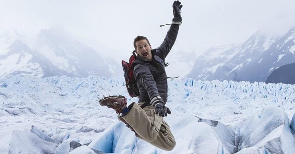 An image from his Instagram account shows Congressman Aaron Schock (R-IL) jumping for joy on a glacier in Patagonia, Chile, late last year.