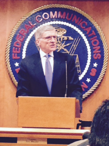 Tom Wheeler speaking at the Net neutrality hearing. (Photo: Michael Winship)