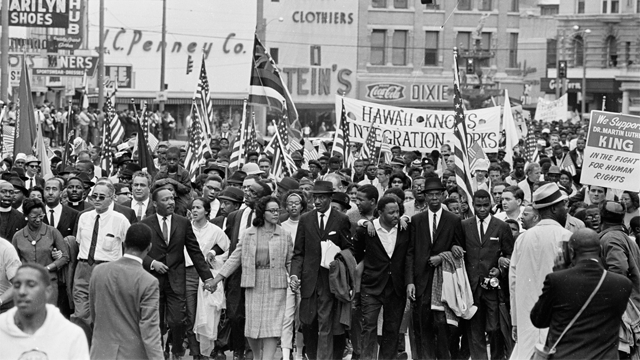 "Martin Luther King Jr., Coretta Scott King and others march from Selma to Montgomery, 1965. (James ""Spider"" Martin Photographic Archive/Briscoe Center, University of Texas at Austin)"