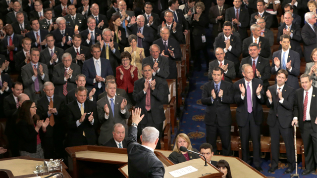 """Israeli Prime Minister Benjamin Netanyahu waves after speaking before a joint meeting of Congress on Capitol Hill in Washington, Tuesday, March 3, 2015. In a speech that stirred political intrigue in two countries, Netanyahu told Congress that negotiations underway between Iran and the US would """"all but guarantee"""" that Tehran will get nuclear weapons, a step that the world must avoid at all costs. (AP Photo/J. Scott Applewhite)"""