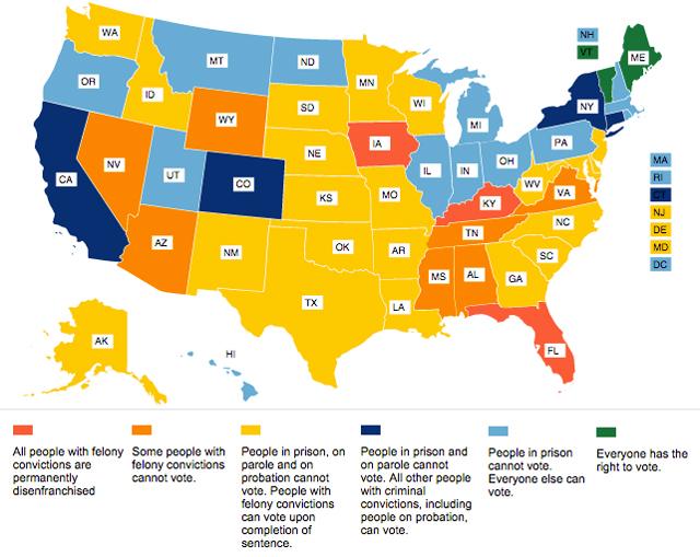 US map of disenfranchisement laws