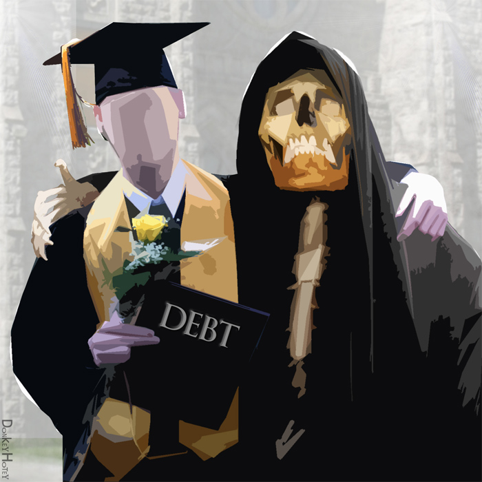"""Indentured Student embraced by the Grim Reaper of Debt."" (Graphics: DonkeyHotey/flickr CC 2.0)"
