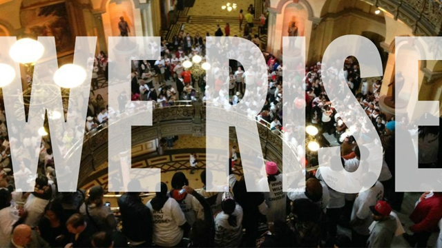 Progressive activists flooded the rotunda of the State Capitol building in Springfield, Illinois as part of the 'We Rise' national day of action on Wednesday, March 11, 2015. (Photo: National People's Action/flickr/cc)