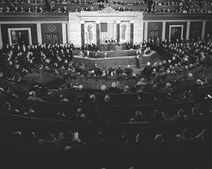 LBJ speaking to Congress