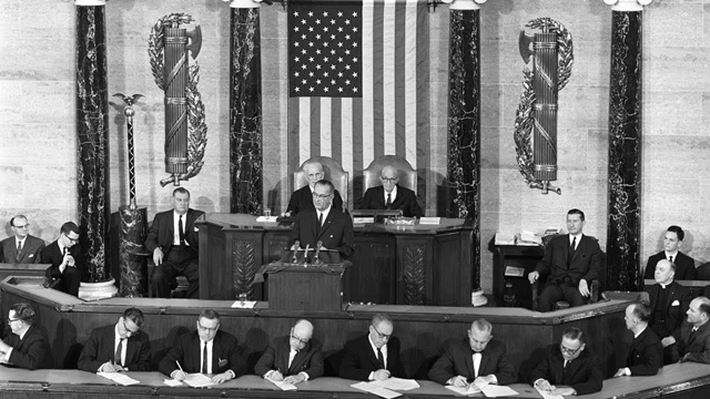 """LBJ delivers his """"American Promise"""" speech to Congress"""