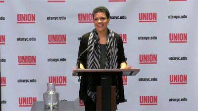 Legal scholar and author Michelle Alexander speaks at New York's Union Theological Seminary on March 4, 2015.