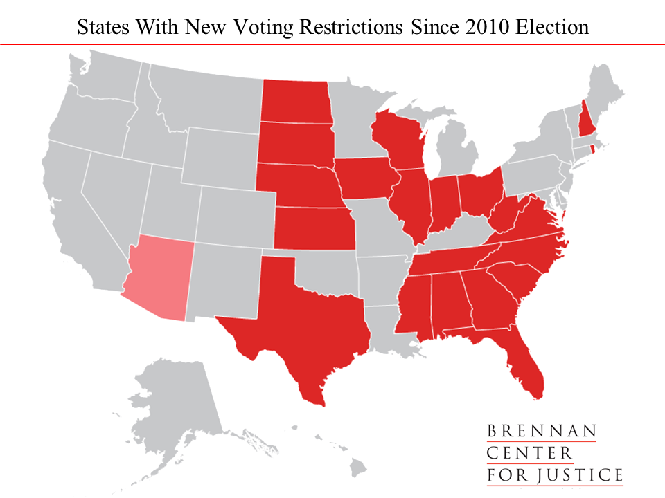 map of States with new voting restrictions since 2010