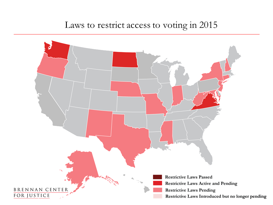 map of Laws to restrict voting in 2015