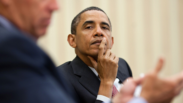 President Barack Obama listens as Vice President Joe Biden makes a point during a meeting with the Democratic leadership in the Oval Office, June 23, 2011. (Official White House Photo by Pete Souza)