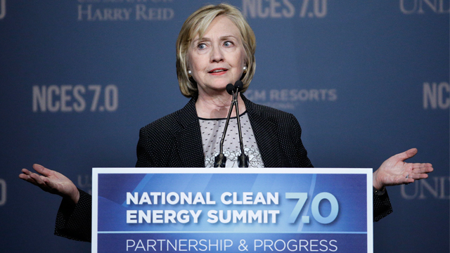 Former Secretary of State Hillary Rodham Clinton speaks at the National Clean Energy Summit Thursday, Sept. 4, 2014, in Las Vegas. (AP Photo/John Locher)