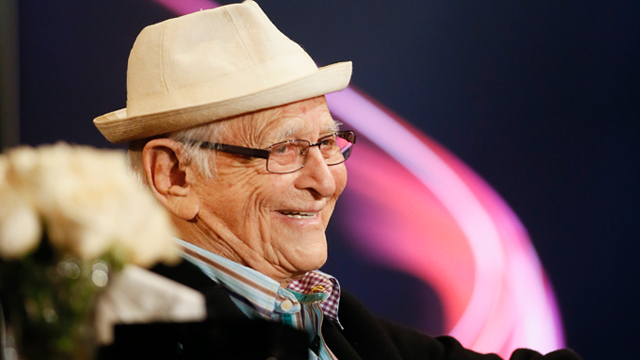 """Television icon Norman Lear smiles during a lively conversation about Lear's influence on urban culture and Hip Hop during """"An Evening With Norman Lear"""" presented by the Television Academy at the Montalban Theatre in Hollywood, Wednesday, Jan. 28, 2015. (Photo by Danny Moloshok/Invision for the Television Academy/AP Images)"""