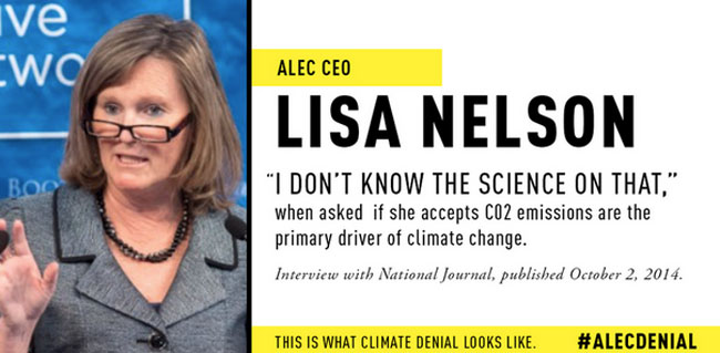 ALEC's CEO claims not to know the well-established science on climate change. (Photo: Greenpeace)