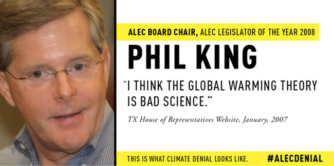 Despite the overwhelming scientific consensus, ALEC board chair, Phil King, still made this absurd statement. Photo credit: Greenpeace