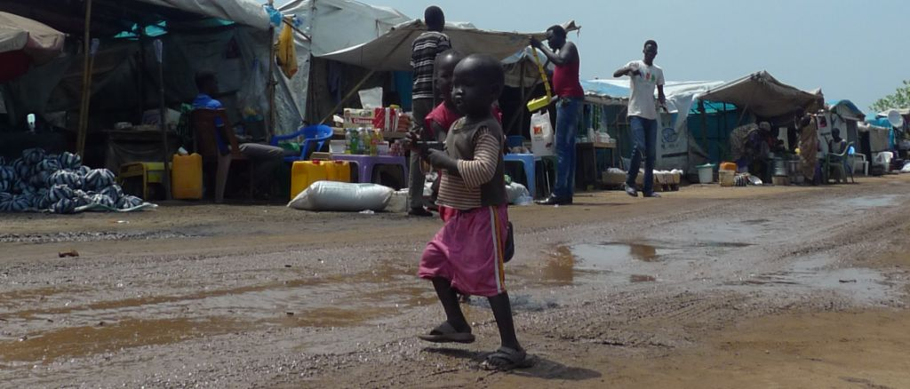 Young children with toy guns, Tomping Protection of Civilians Site, Juba, South Sudan, July 2014. (Photo: Nick Turse)