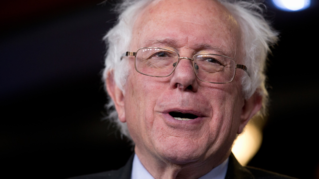 Sen. Bernie Sanders, I-Vt., reacts as he as he is asked about running for president during a news conference on Capitol Hill in Washington, Wednesday, April 29, 2015. Sanders has made it official, telling The Associated Press in an interview that he's running for president. (AP Photo/Carolyn Kaster)